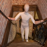 flexible mannequin on stairs